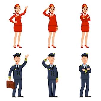 Vliegtuigpiloot en stewardess in verschillende poses. mannelijke en vrouwelijke personages in cartoonstijl.