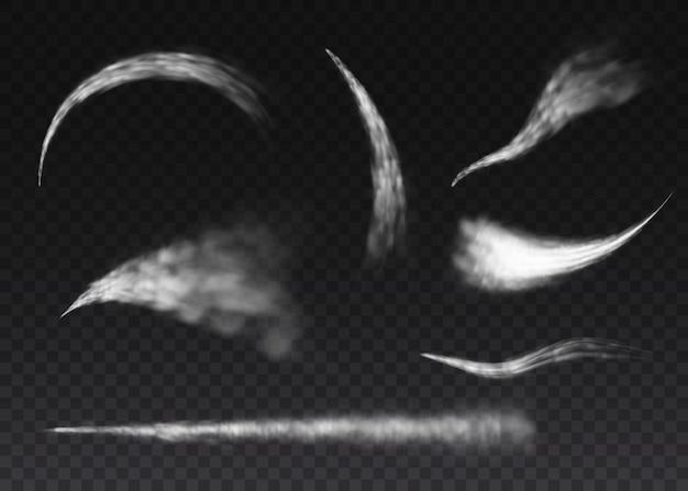 Vliegtuigrook geïsoleerd op transparante achtergrond. vliegtuig rook raket stream effect vliegtuig jet wolk vluchtsnelheid burst. realistische condensatiesporen in vliegtuigen.