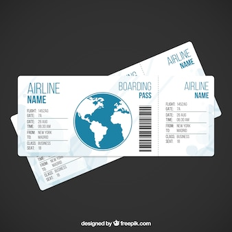 Vliegtuigticket template