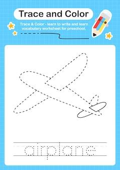 Vliegtuigtracering en kleuterschoolwerkbladtracering voor kinderen om de fijne motoriek te oefenen
