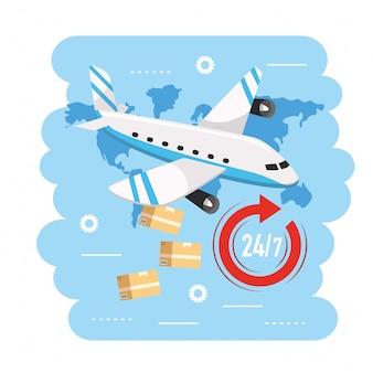 Vliegtuigtransport met dozen naar bezorgservice