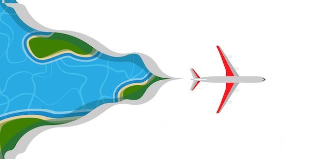 Vliegtuigvlieg in de illustratiereis van de wolkenhemel. banner zakelijke reizen luchtvaartmaatschappij rode jet.