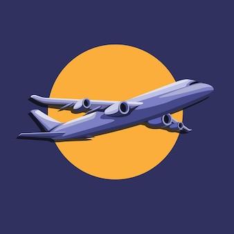 Vliegtuigvlucht met zon