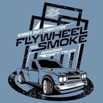 Vliegwiel rook verbazingwekkende drift truck, illustratie van de concurrentie vrachtwagen drif