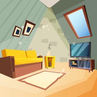 Vliering. slaapkamer voor kinderen interieur van zolder kamer hoek met raam op plafond foto in cartoon stijl