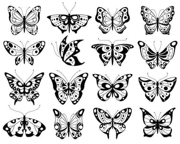 Vlinder als gestileerde exotische vlinders silhouetten illustratie