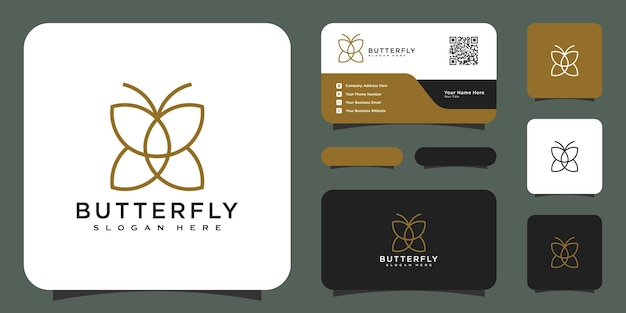 Vlinder dier logo ontwerp vector en visitekaartje