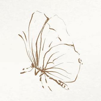 Vlinder doodle illustratie vector, geremixt van vintage afbeeldingen uit het publieke domein