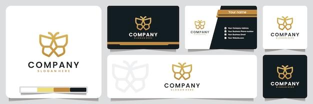 Vlinder, elegant, luxe, gouden kleur, inspiratie voor logo-ontwerp