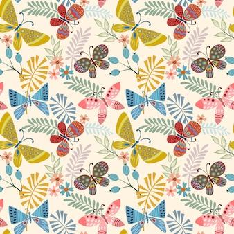 Vlinder en blad naadloze patroon.