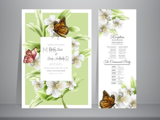 Vlinder en bloemen hand getrokken bruiloft uitnodiging sjabloon