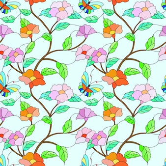 Vlinder en bloemen op tak gebrandschilderd glas stijl patroon.