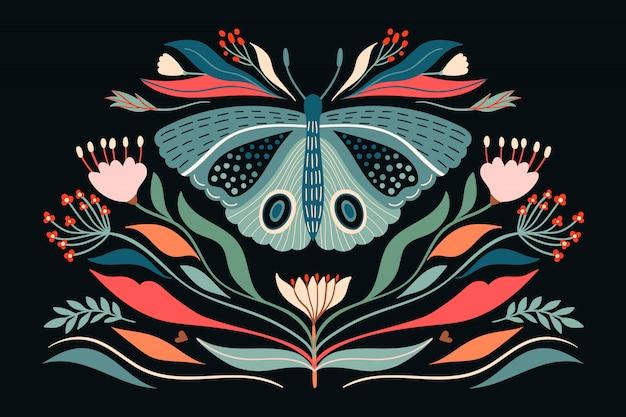 Vlinder en planten illustratie