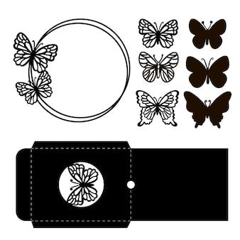 Vlinder envelop kroon monochroom vakantie collectie van insecten en groet opengewerkte contouren voor snijden en afdrukken cartoon clipart vector illustratie set