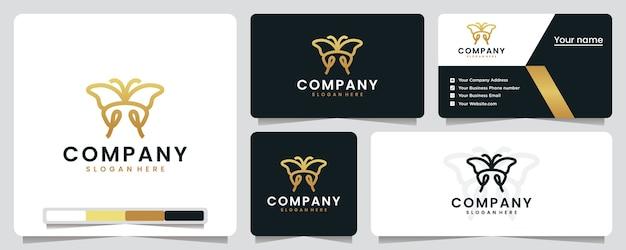 Vlinder, gouden kleur, luxe, inspiratie voor logo-ontwerp