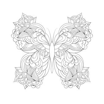 Vlinder in doodle stijl. kleurplaat