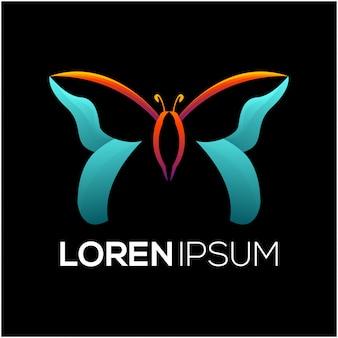 Vlinder kleurrijk logo ontwerp