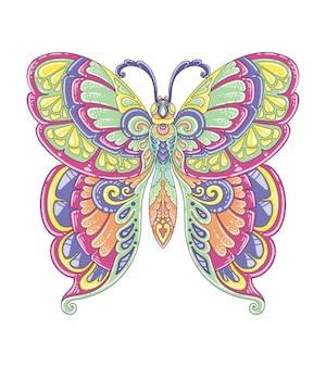 Vlinder kleurrijk mandala-ontwerp
