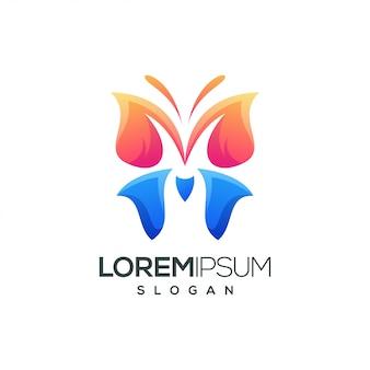 Vlinder kleurrijk verloop logo