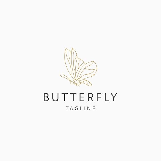 Vlinder lijn kunst elegante luxe logo pictogram ontwerp sjabloon platte vector
