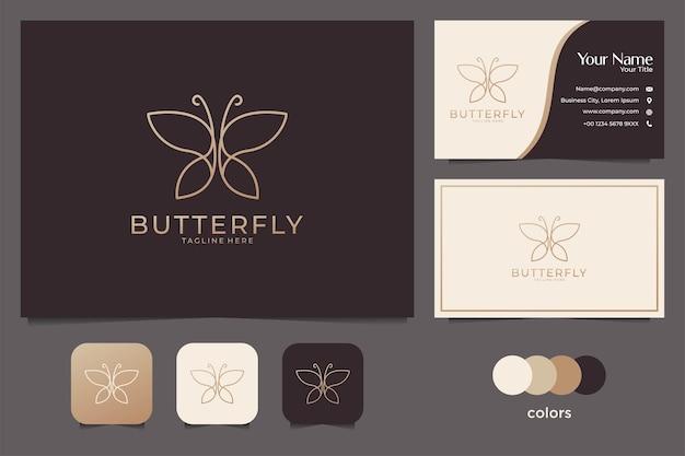 Vlinder lijntekeningen elegant logo-ontwerp en visitekaartje