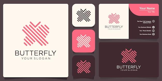 Vlinder logo. luxe lijn logo ontwerp. universeel premium vlindersymboollogotype.