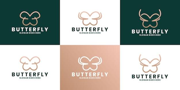 Vlinder logo-ontwerp branding mode