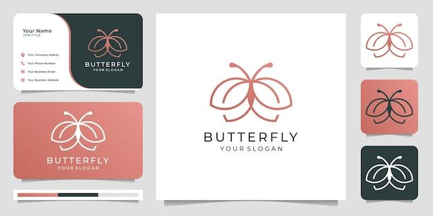 Vlinder logo ontwerp met visitekaartje. lijntekeningen stijlsjabloon logo.