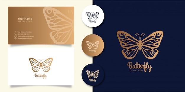 Vlinder logo ontwerp met visitekaartje