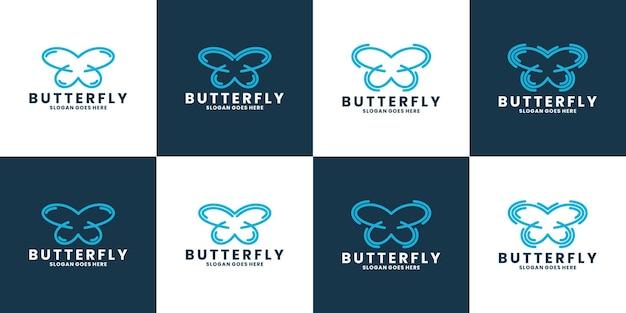 Vlinder logo vector lijn overzicht mono lijn pictogram illustratie
