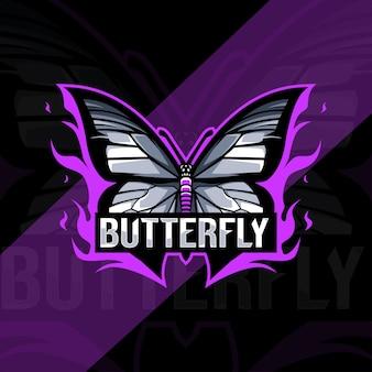 Vlinder mascotte logo esport design