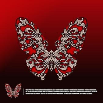 Vlinder met klassiek decoratiesjabloon