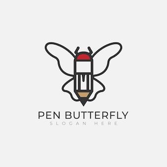 Vlinder met pen logo sjabloonontwerp