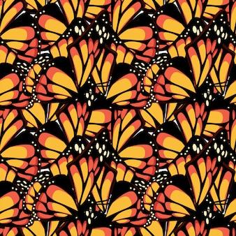 Vlinder monarch met macro getextureerde vleugels naadloze patroon.