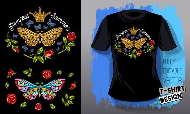 Vlinder mot gouden borduurwerk koningin kroon textiel stoffen t-shirt ontwerp belettering gouden vleugels insect luxe mode geborduurde stijl hand getrokken illustratie