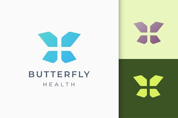 Vlinder of gezondheid plus abstract logo in eenvoudige en moderne vorm