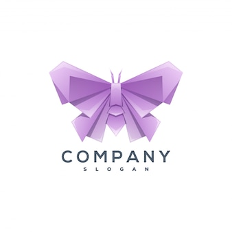 Vlinder origami stijl logo