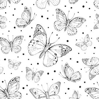 Vlinder patroon. schetskunst met insectensilhouet. hand getekend vliegende vlinder patroon.
