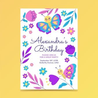 Vlinder verjaardag uitnodiging sjabloon