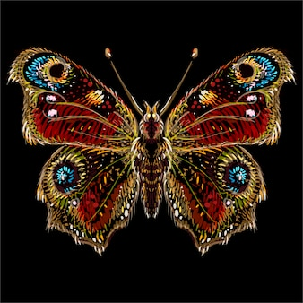 Vlinder voor tattoo of t-shirt design of uitloper. leuke print stijl vlinder.