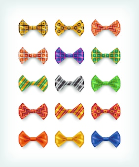 Vlinderdassen iconen collectie. verschillende kleur en patroon stropdas illustraties