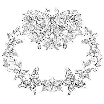 Vlinderkrans handgetekende schetsillustratie voor kleurboek voor volwassenen