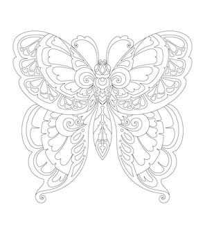 Vlindermandala-ontwerp voor het afdrukken van kleurplaten