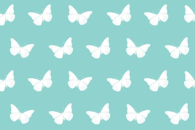 Vlinderpatroon als achtergrond, mintgroen minimaal ontwerpvector