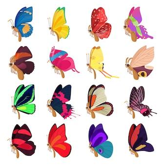 Vlinderpictogrammen in de vector die van de beeldverhaalstijl worden geplaatst