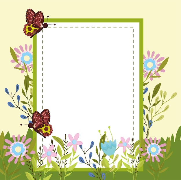 Vlinders bloemen en banner