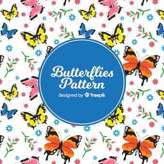 Vlinders en bloemenachtergrond