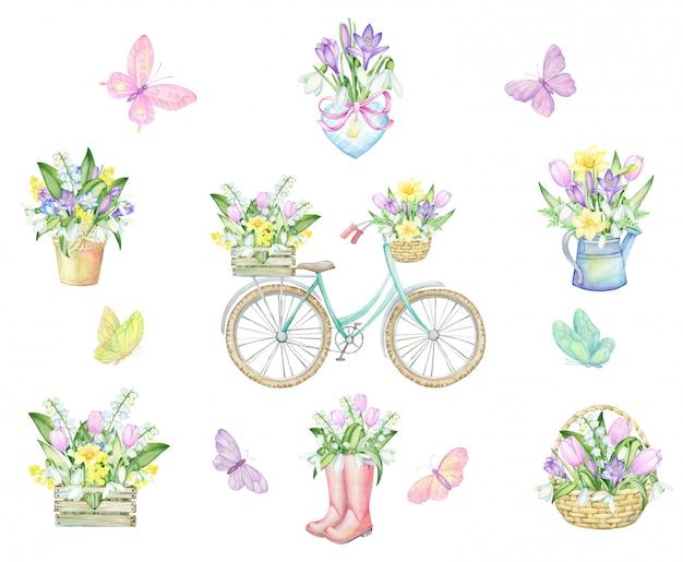 Vlinders, fiets, plantenbakken, hart, rubberen laarzen, karzinka, houten kist, gieter, boeketten bloemen. aquarel set. tekening, op een lentethema.