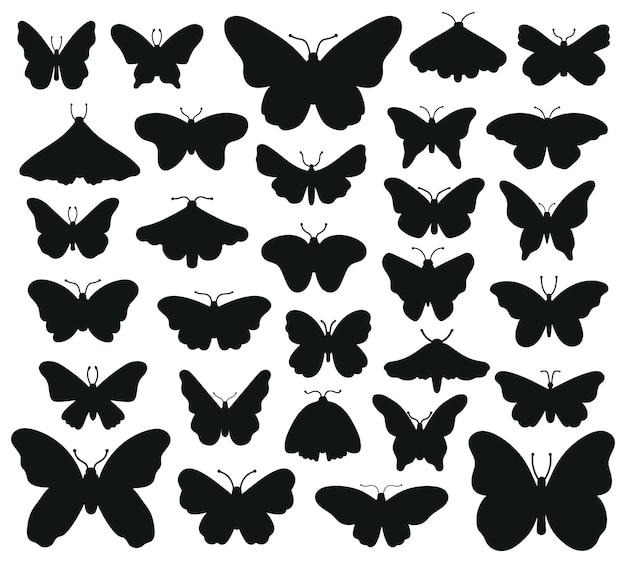 Vlinders silhouetten. hand getrokken vlinder, tekening grafisch insect. de zwarte reeks van de silhouettenillustratie van tekeningsvlinders. insect vlinder zwart silhouet, hand getrokken vorm