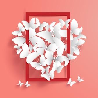 Vlinders vormen een mooi symbool van liefde met een frame in het